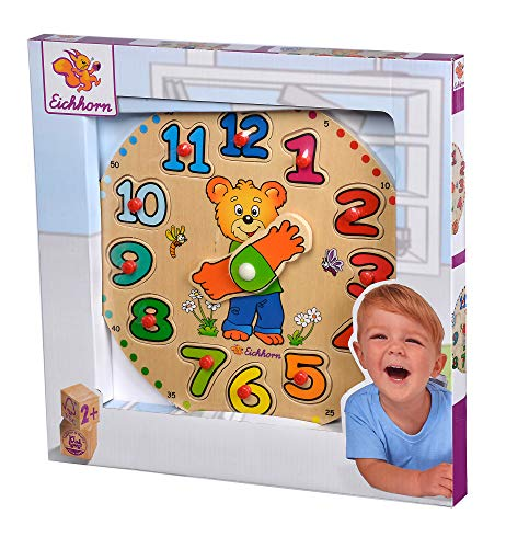 Eichhorn 100005456 - Lernuhr, Puzzle mit 12 Steckteilen, 25cm, FSC 100% Zertifiziertes Lindensperrholz