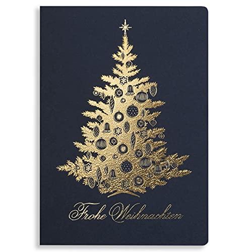Art Nuvo Juego de 10 tarjetas de Navidad de 120 x 170 mm, diseño de Navidad dorado y de papel multicolor