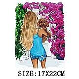 JSWFZ Transferencia de Moda Lady Thermo Etiqueta en la Ropa de la voga de Chicas Hierro en remiendos for la Ropa Lavable DIY Camiseta de la Ropa Etiqueta Conjunto (Color : Y 082)