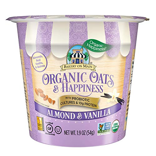 Bakery On Main | Almond & Vanilla | 10g Protein | Probiotic Oatmeal Cups | Gluten-Free | USDA Organic | Non GMO Project Verified | 12 Count (PP-GRCE33896), 1.9 Ounce (Pack of 12)