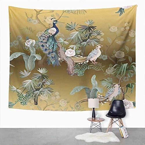 Tapices Tapicería de pavo real plumas de pavo real pluma de pavo real colorido Colorido tapiz étnico para habitación de dormitorio Decoración de pared Colgante de pared Tapas de arte de la pared 150 c