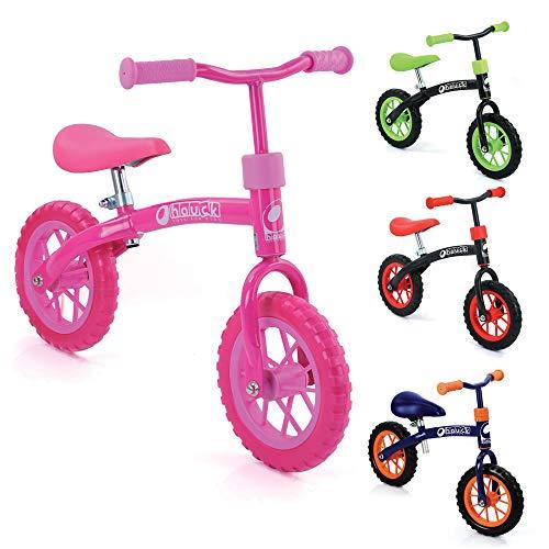 Hauck E-Z Rider Kinderlaufrad - 10 Zoll Laufrad, für Kinder ab 2, Lenker und Sattel höhenverstellbar, bubble pink