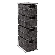 DESIGN-This Sturdy Four Drawer Storage Unit With Classic Grey Frame Has a Robust Design With a Glamorous Look , lots of storage with style,, Giving You the Best of Both Worlds. METAL & PAPER ROPE MATERIAL - The Units are Made with Paper Rope Material...