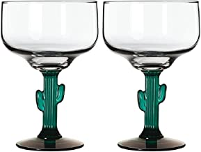Margarita Glasses W/Cactus Green Decor Stem Lot Of Two 16 oz New