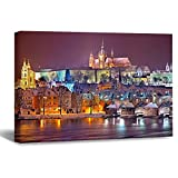 Lienzo enmarcado de madera para pared de Praga, Praga, Noche de Invierno, Praga, Castillo de Praga, Color96 obras de arte de pared para sala de estar, dormitorio, decoración de 20 x 30 cm
