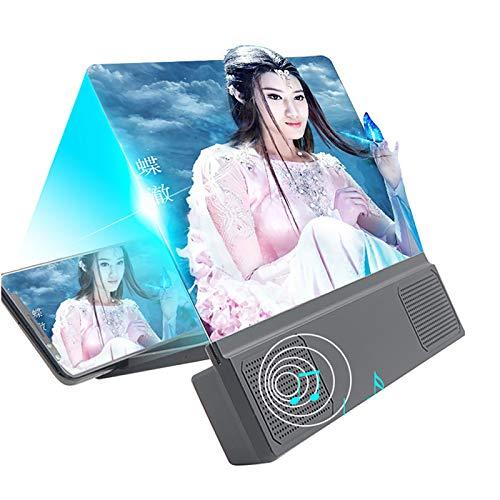 12 Zoll Bildschirmlupe für Smartphone, 3D HD Handy Lupe Projektor Bildschirm für Filme, Videos und Gaming, Telefonständer mit Bildschirmverstärker, unterstützt alle Smartphones