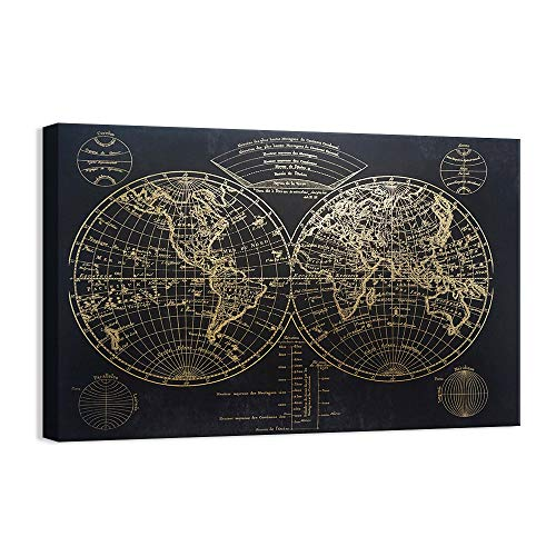 Kas Home Modern Art - Vintage Gold Foil World Map - Black Canvas Prints Large Framed Wall Art Wall Paintings for Living Room Office Wall Decor (32 x 48 Inch, A Framed)