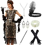 Women's 1920s Sequins Flapper Gatsby Cocktail Dress with 20s Headband Accessories Set (L, Black Gold)