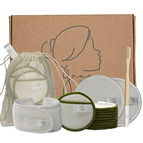 Kit 12 Cotons démaquillants bio lavables et réutilisables : 10 pcs en fibre naturelle de bambou + 2 grandes lingettes en microfibres + un bandeau + sac à linge + 1 brosse à dents en bambou offerte !