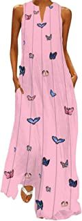 Dubocu Women Maxi Dress Sleeveless V Neck Vintage Print Summer Loose Swing Casual Party Evening Gown Beach Dress With Pockets(3XL,Pink)
