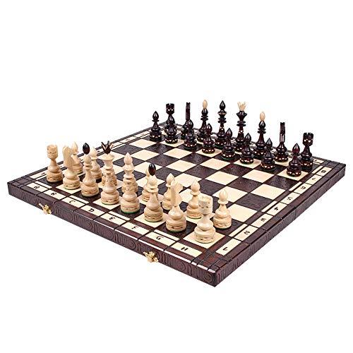 Amazinggirl Schachspiel groß Schach Schachbrett 54 cm - indisches Chess Schachfiguren Set hochwertig Holz klappbar Board