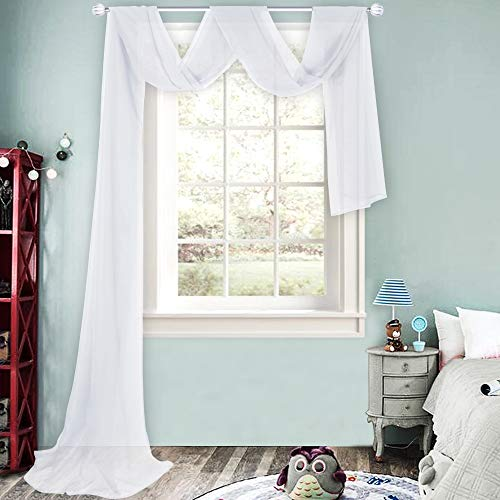 HUTO White Sheer Window Scarf Valances for Girls Room Sheer Soft Voile Curtain Scarves for Wedding Party Canopy Bed 216 Extra Long