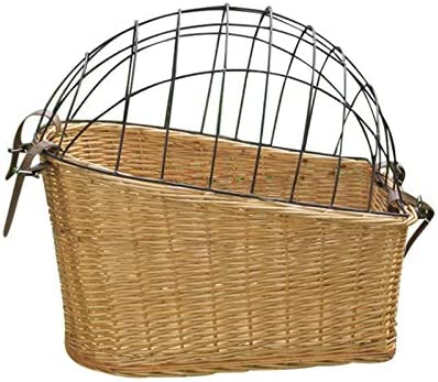 juman Bike Basket Dog Basket with Protective Wire Pet Basket Carrier Bag Rear Mount Willow Bicycle product image