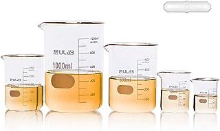 ULAB شیشه ای شیشه ای با نوار مغناطیسی پیشنهاد شده، 5 اندازه 50ml 100ml 250ml 500ml 1000ml 3.3 بورو گریفین کم فرم با فارغ التحصیلی چاپ، UBG1002