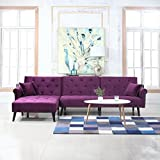 Divano Roma Furniture Middle Century Modern Style Velvet Sleeper Futon Sofa, Living Room L Shape Sectional Couch with Reclining Backrest and Chaise Lounge (Purple)