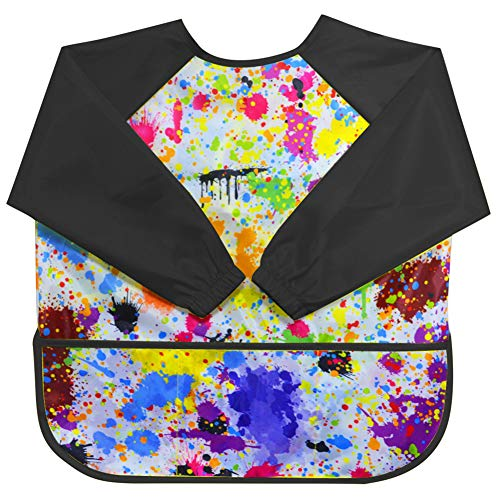 Children's Art Smock Kids Painting Aprons Art Apron (Black)