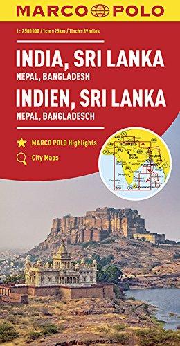 Marco Polo India, Sri Lanka, Nepal, Bangladesh: Wegenkaart 1:2 500 000
