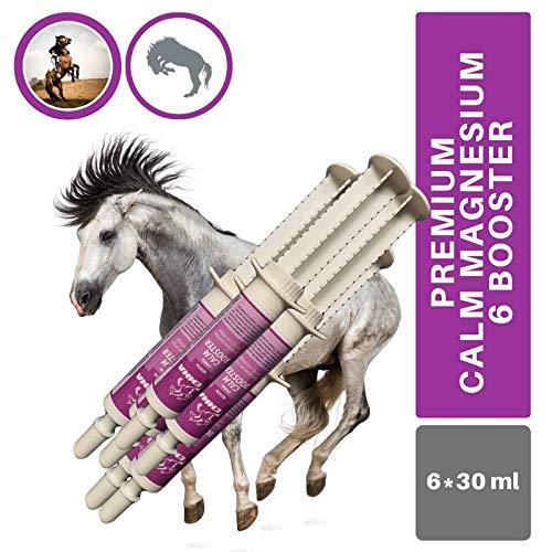 EMMA® Magnesium Pferd I Calm Booster I zur Beruhigung Nerven I L-Tryptophan Aminosäuren Paste I Angst Stress schreckhaftes Pferd I unterstützt Gelassenheit bei nervösen Pferde Pony 6 * 30ml