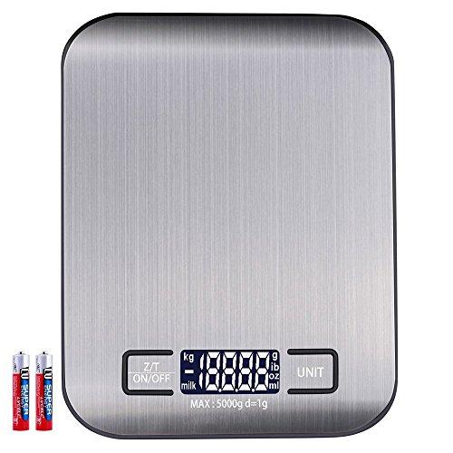 Báscula digital de cocina Industrial Digital Báscula Báscula electrónica, 5 kg máximo peso (alta precisión a hasta 1 G), función de tara, con 5 unidades de pesaje
