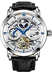 Stührling Original Mens Watch Stainless Steel Automatic, Skeleton Dial, Dual Time, AM/PM Sun Moon,Genuine Leather Strap 371 Watches for Men Series