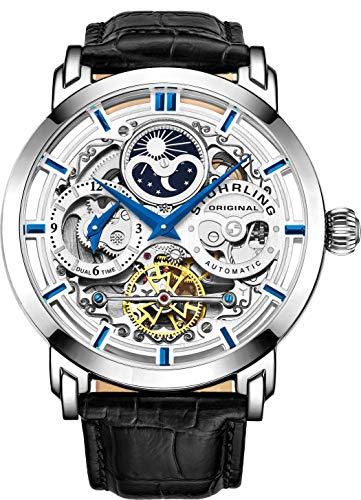 Reloj automático Stuhrling Original Skeleton para hombre con correa de cuero 371.01