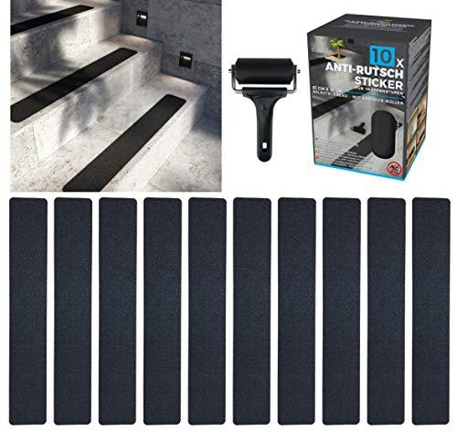 cocofy Anti-Rutsch Sticker für Treppen außen und innen | 10x Streifen (61x10 cm) schwarz | Starker Halt dank Spezial-Outdoor-Oberfläche | Rutsch-Schutz für Treppenstufen | mit Montageroller