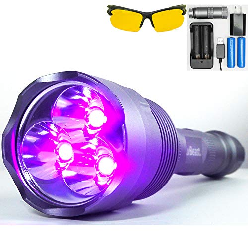 uvBeast NEW V3 385-395nm Black Light UV Flashlight - Rechargeable 18650 with Glasses - HIGH POWER UPGRADED Triple Broad Band LEDs Best for Professional/Commercial Use - USA Stock - UK Design