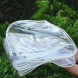 Lona Cubierta de Muebles de Lona Transparente con Arandelas, Espesor 0.3mm/0.5mm Película de Cortina Suave de Plástico for Ventana/Puerta/Cubierta de Plantas,Resistente Rotura (2x5m/6.6x16.4ft,0.5mm)