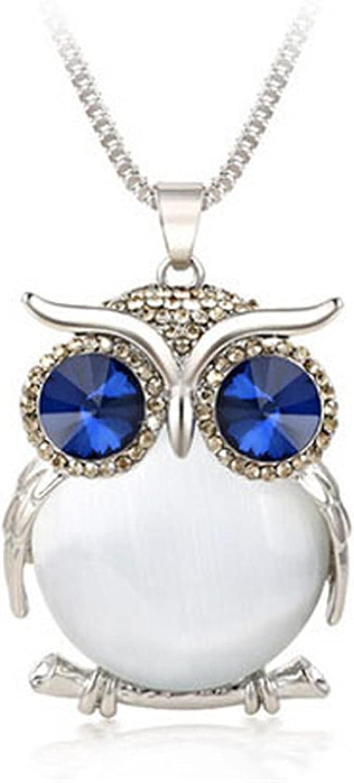 Women Vintage Owl Crystal Brand Cheap Sale Venue Necklace Long Max 78% OFF Diamond B Alloy Pendants