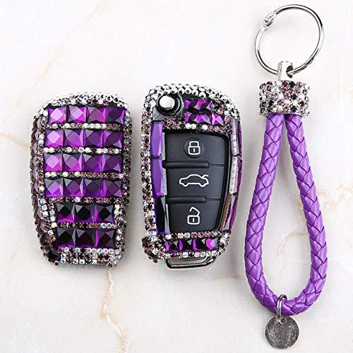 Carcasa Llave Smart Key Fob Case Cover Car Key Case Cover Key Shell Holder con Accesorios De Llavero, para Audi A1 A3 Q3 S3 S5 S6 R8 TT Q7 Q5 A6 A4 Key Case For Car Purple