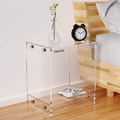 (Flat Packed) Modern Design Clear Acrylic Home Decor Display Nightstand/Decorative End Table/Bedside Tables (Clear)