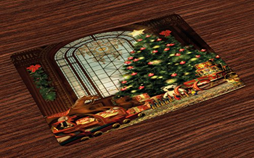 Ambesonne Christmas Place Mats Set of 4, Vintage Ambiance Big Old Fashioned Window Xmas Tree Various Presents, Washable Fabric Placemats for Dining Room Kitchen Table Decor, Brown Green