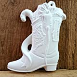 Cowboy Boot Christmas Ornament with Ribbon and Candy Cane - Ready to Paint Ceramic Bisque - Hand Poured in The USA