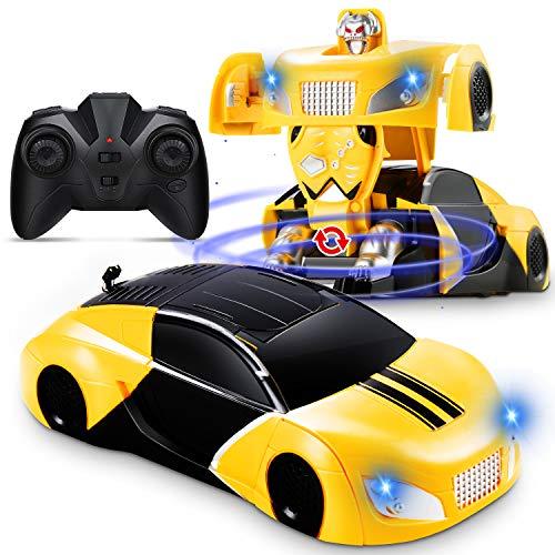 Dookey Ferngesteuertes Auto, Wandklettern RC Car 360 ° mit Deformiertem Roboter an der Wand, Ferngesteuertes Kinderauto mit LED-Lichter, Geschenke für Jungen Mädchen Indoor Outdoor Spiele (Gelb)