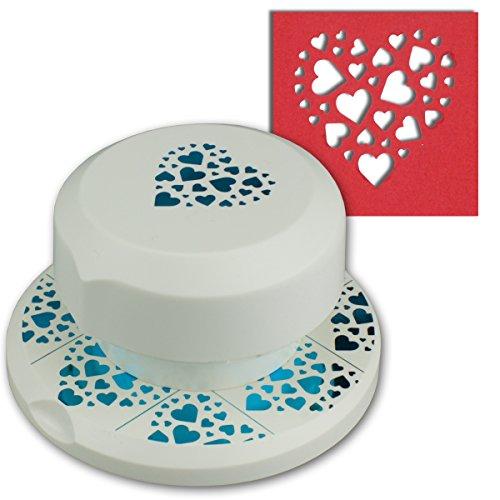 Artoz fliegender Stanzer - Herz mit kleinen Herzen - Frei positionierbarer Kartenstanzer - Stanze-Locher zum Kartenbasteln für Geburtstage Kartenbasteln, Einladungen und vieles mehr