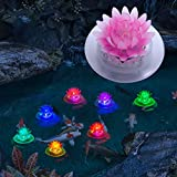 pearlstar Solar Floating Pool Lights Outdoor Pond Decoration Lighting Waterproof Color Changing LED Garden Lotus Lamp for Swimming Pool, Lily Pond, Yard (Lotus-1pack)