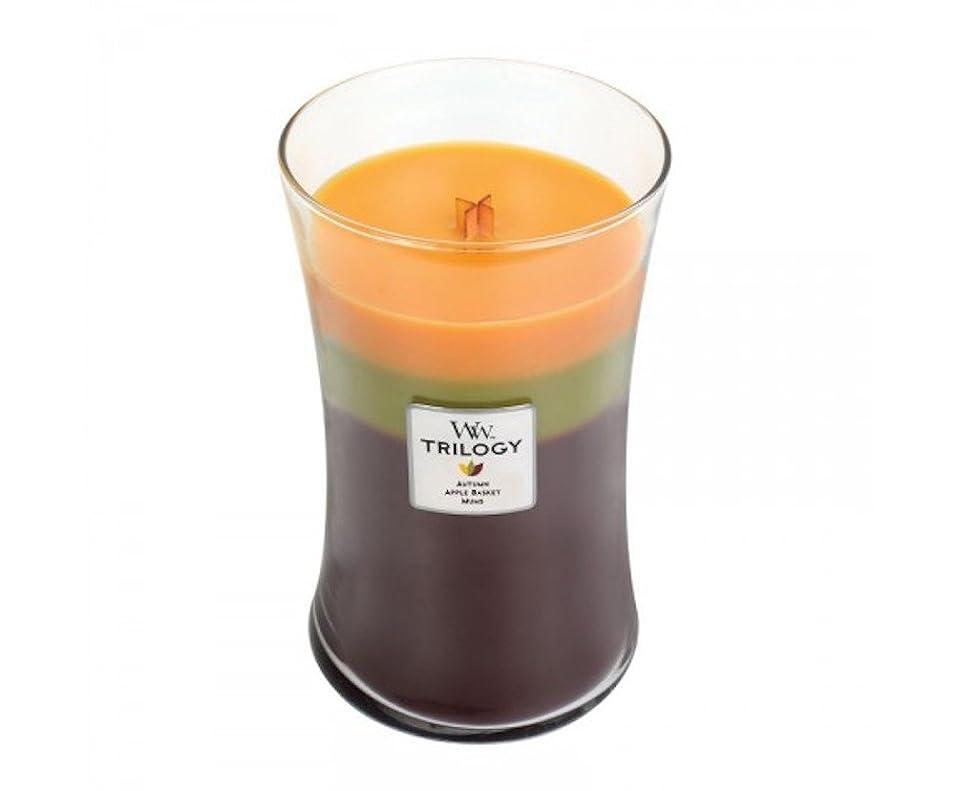 たくさんの請求サワーWoodwick Trilogy Autumn 93961 Traditions Large Duftkerze Hourglass Glass Multi-Coloured Yellow/Green/Brown, 10.4 x 10.3 x 17.5 cm