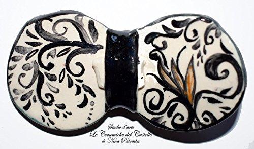 """Pajarita de Cerámica Línea Antiquae Hecho y Pintado a Mano por""""Le Ceramiche del Castello di Nina Palomba"""" Pieza única Hecha en Italia Dimensiones L 10 x 5 cm H"""