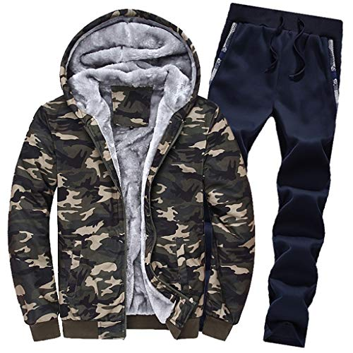 Tosonse Outwear Suit Mens Sweat À Capuche Hiver Camouflag Polaire Chaud Zipper Outwear Ensembles Sweat