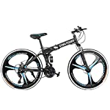 【Ship from The U.S.】 26in Folding Mountain Bike Shimanos 21 Speed Bicycle Full Suspension MTB Bikes (A)