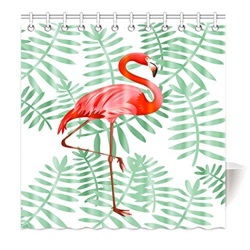 Violetpos Top Qualität Anti-Schimmel Duschvorhang Digitaldruck für Badezimmer Badvorhänge Schöne rote Flamingo grüne Blätter 160 x 180 cm