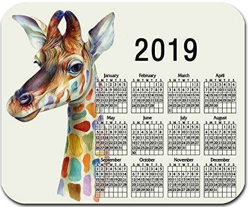 Benutzerdefiniertes mauspad, Personalisiertes mauspad mit jahreskalender 2019 - giraffe - fügen sie einen beliebigen text hinzu