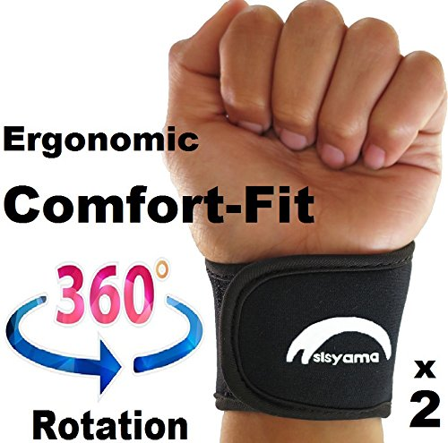 SISYAMA 2X Adjustable Neoprene Wrist Support Wristbands Ergonomic Comfort FIT (Youth Black)