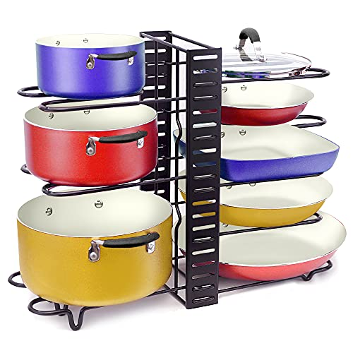 Adjustable Pan Organizer and Pot Rack with 8 Tiers, Rustproof Kitchen Cabinet Storage Organizer For Heavy Pots Pans and Cookware, Display On Counter w/ 3 Easy DIY Options (Vertical / Horizontal)