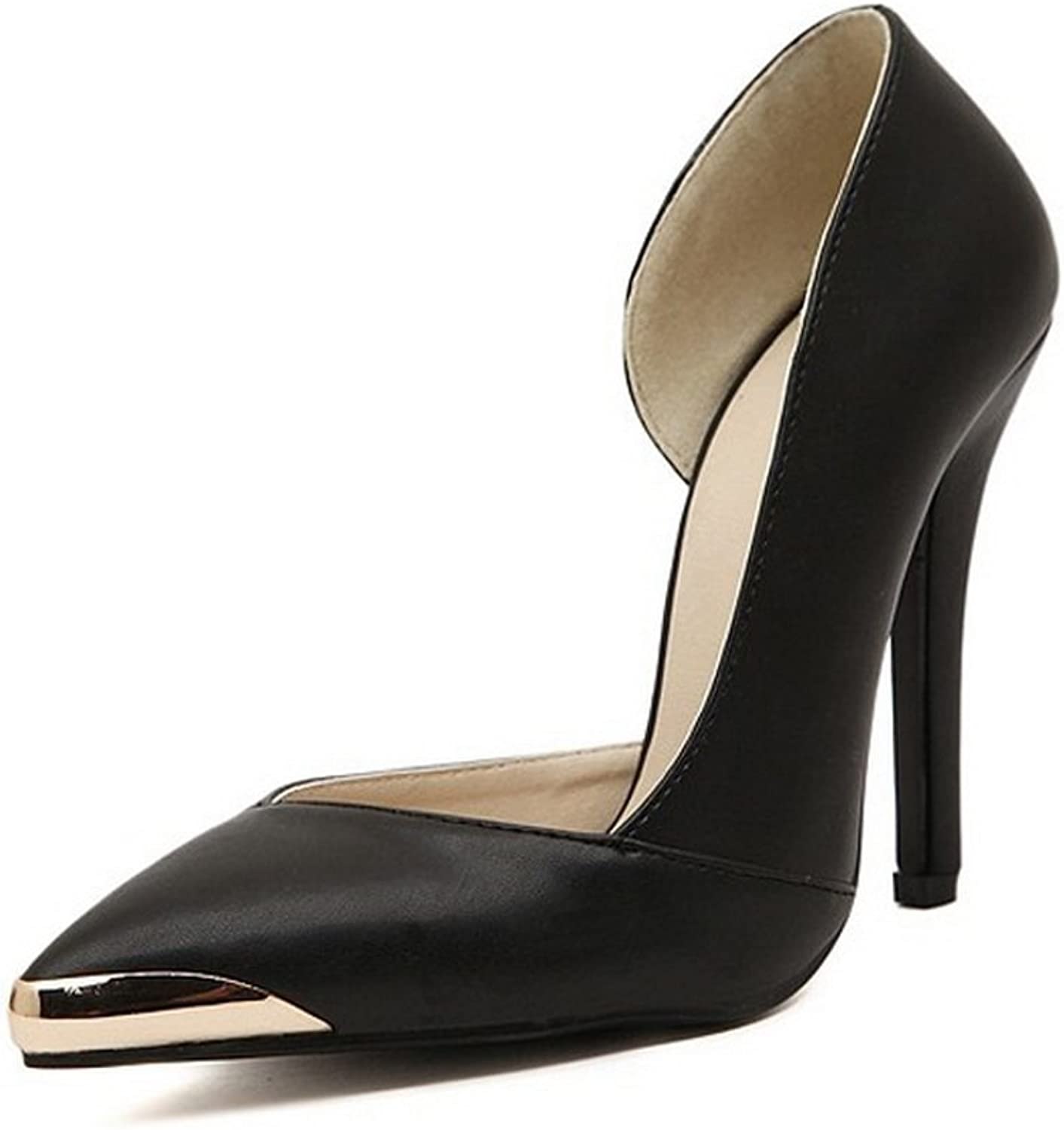 Sothingoodly Pretty Optimal Women Side Open Metal Pointed High Heels