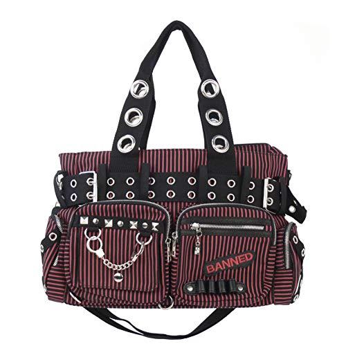 Banned Schwarz Rot Gestreifte Handtasche Daybag Umhängetasche Vintage Rockabilly Schultertasche Shopper Punk Gotik Handtasche Schwarz Tasche (10159)