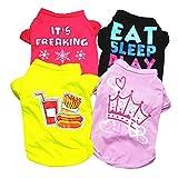 POPETPOP 4 Piezas Camisas para Perros Mascota Camiseta de Algodón Ropa para Perros de Verano Chaleco para Perros Ropa para Perros Pequeños Medianos Grandes Tamaño L