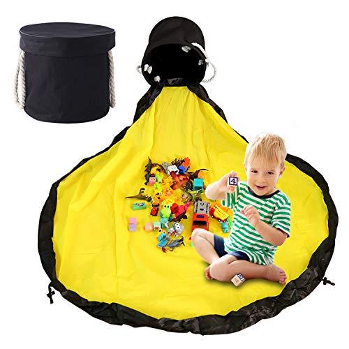Herefun Aufräumsack Kinder, Spieldecke Aufbewahrungsbeutel für Kinderzimmer, Aufbewahrung Spielzeug Beutel für Kinderzimmer Aufbewahrungsbox mit Deckel Tragegriff für Kinderzimmer Outdoor Picknick