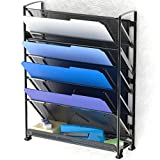 SimpleHouseware 6 Tier Wall Mount Document Letter Tray Organizer, Black
