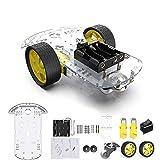 2WD Robot Smart Car Chassis DIY Kits Motor inteligente con velocidad de seguimiento y Taco Encoder 65x26mm Neumático para Arduino Raspberry Pi